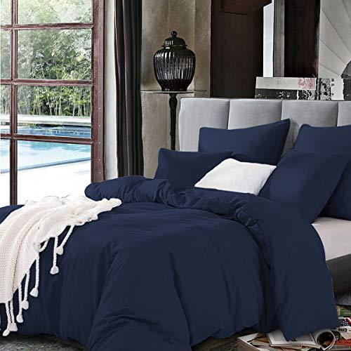 Bettwäsche Set 200 x 200cm Dunkelblau Bettwäsche 100% Weiche und Angenehme Mikrofaser Schlafkomfort - 1 Bettbezug 200x200cm mit Reißverschluss + 2 Kissenbezüge 80 x 80 - 10 Jahre Garantie - dunkelblau