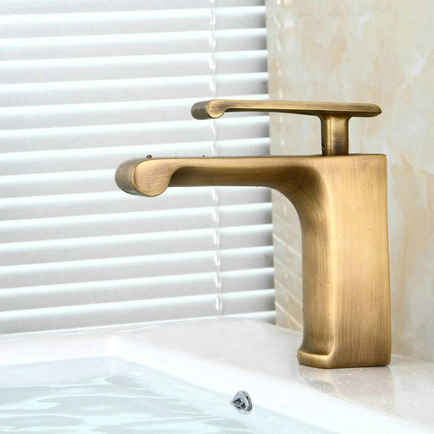 ZMHOME Waterfall Faucet Antique Brass Single Handle Cold Hot Water Bathroom Basin Tap,Brass