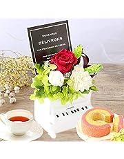 母の日 バラ 花コラボ ケーキ洋菓子 花とスイーツ プリザーブドフラワー アレンジメント 母の日のプレゼント フラワーギフト ピアニスト(赤)