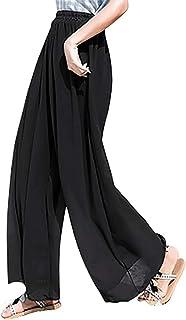 [ニーマンバイ] シアー とろみ ワイド パンツ シフォン スカーチョ 透け感 シースルー きれいめ レディース M~2XL