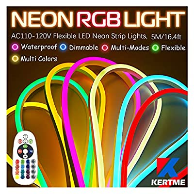 KERTME Neon Led Type AC 110-120V LED NEON Light Strip, Flexible/Waterproof/Dimmable/Multi-Colors/Multi-Modes LED Rope Light + 24 Keys Remote for Home/Garden/Building Decoration (16.4ft/5m, RGB)