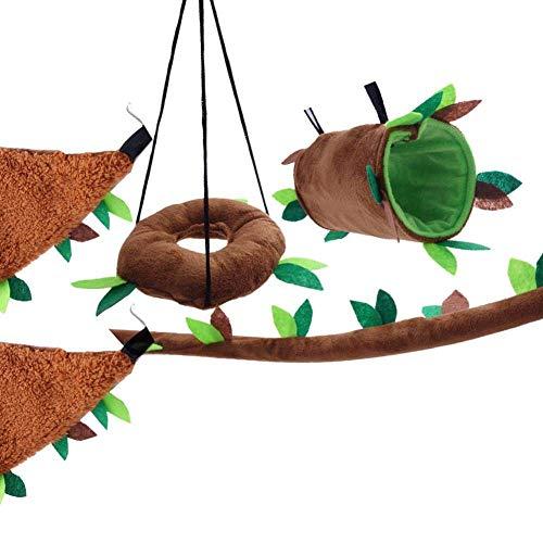 COMESU 5 stücke Kleines Haustier Blatt Spielzeug Anzug Hamster Spielzeug Ring Schaukel Blatt Zylinder Dreieck Hängematte Blatt Seilbahn Spielzeug, A