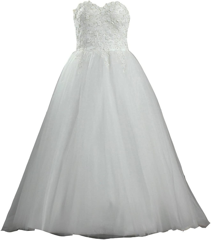 ANTS Women's A Line Flowers Lace Tulle Wedding Dresses Long Bridal Gown