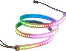 VIPMOON WS2812B 144 LEDs/Pixels/m Black PCB Individual Addressable Full Color LED Pixel Strip Dream Color Waterproof 3.2FT 1m