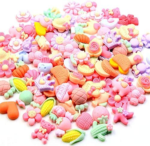 100 parches de resina de dibujos animados de color rosa para niños, flores de resina de goma esmerilada, accesorios de joyería, collares, pulseras, joyería para niños, varios colores…