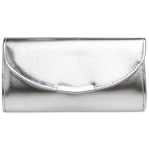 Caspar TA360 elegante Damen Clutch Tasche Abendtasche mit langer Kette, Farbe:silber, Größe:One Size