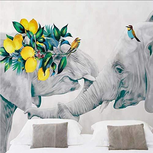 Cczxfcc Papierbehang met olifantenmotief, voor woonkamer, slaapkamer, dieren, papier, wandbehang, rol, bedrukt, 3D-foto, wandafbeeldingen 140 x 100 cm