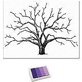 DIY Boda del árbol de la Huella Digital Libro de Invitados de la Boda decoración de la Boda del árbol de la Lona con el tampón de Tinta,Negro