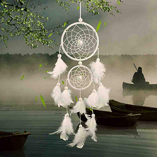 SDFASV Traumfänger Dreamcather White Zwei-Ring-Traumfalle Dekoration Dekoration Hochzeit Dekoration Feder Handwerk Fechten Anhänger Geschenk