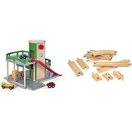 BRIO World Parking Garage compatible with all BRIO train sets & World - Expansion Pack - Beginner Wooden Train Track for Kids Age 3 Years and Up, Compatible with all BRIO Train Sets