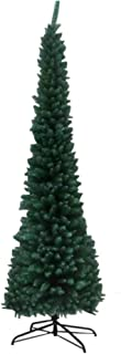 Fine 7.5ft Prelit Pencil Christmas Tree, Premium Hinged Fir Tree, with Solid Metal Stand, Easy Assemble, Ideal Artificial Xmas Tree for Home and Office