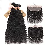 Deep Wave 3 Bundles With 13X4 Lace Frontal Brazilian Hair Weave Bundles With Closure Remy Human Hair With Baby Hair Free Part 26 26 28 & Closure20