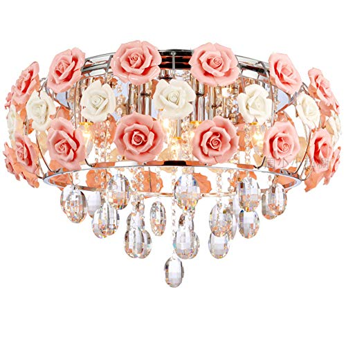 LUOLAX Romantic Ceramic Rose Flower Chandelier Modern Crystal Pendant Lamp Flush Mount Hanging Ceiling Fixture for Girl Bedroom/Living Room/Restaurant/Dining Room Decoration, Pink(Dia 19.68Inch)