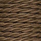 Cable eléctrico Vintage trenzado. Bobina de 5 metros en PVC de 2 núcleos x 0,75 mm de sección en color Havanna Gold