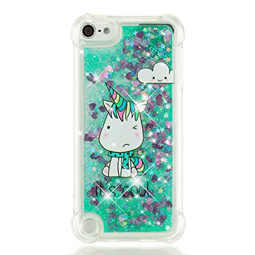 Leton Coque ipod Touch 6 Liquide Paillette Silicone Transparente Protection Housse ipod Touch 5 Bling Case Étui Glitter Sparkle Brillant Quicksands Bumper Licorne Paillette Bleu Motif Cover