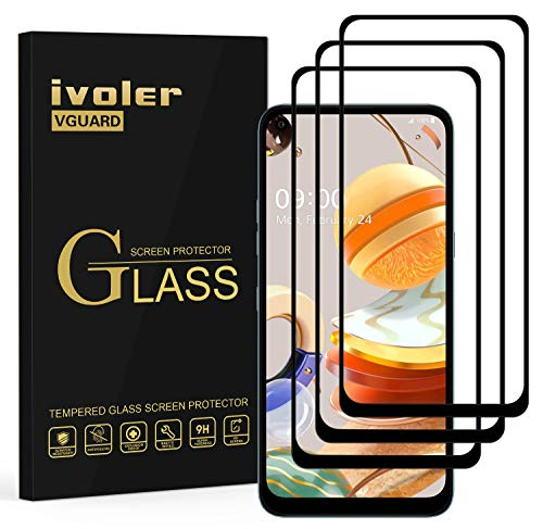 ivoler 3 Stücke Panzerglas Schutzfolie für LG K61, [Volle Bedeckung] Panzerglasfolie Folie Hartglas Gehärtetem Glas BildschirmPanzerglas für LG K61