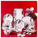 HUAHUA Bowls AMINSHAP vajillas de 60 piezas, Lotus simple Phnom Cuenco y placa Combinación de porcelana Cena Servicio Combi-Set de la marihuana, platillos, platos de postre, platos hondos, platos y cu