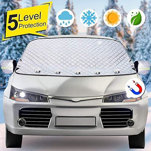 Roboraty Car Sneeuwhoes, voorruit magnetisch deksel, zonbescherming, warmte-isolerende sneeuwhoes, zonnekap gordijn, universeel voor vier seizoenen, eenvoudig te installeren 125 cm.