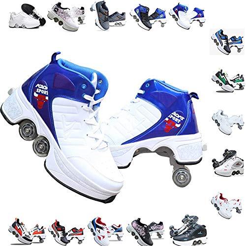 LT&NT Patines en línea multifuncionales, zapatos retráctiles de doble fila de ruedas Parkour, zapatos de patada ajustables, patines cuádruple para niños y adultos-C 39.5