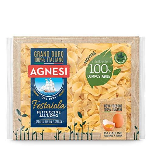 Agnesi Fettuccine All'Uovo, Pasta All'Uovo Festaiola, Confezione Compostabile da 250 Grammi