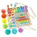 Juego de mesa de cuentas, cuentas de madera, juguete de pesca, forma reconocimiento de colores,...