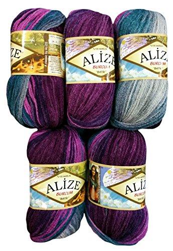 Alize Burcum Batik 5 x 100 Gramm Wolle Mehrfarbig mit Farbverlauf, 500 Gramm Strickwolle (berre Oliv grau u.a. 3366)