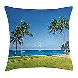 FPDecor Hawaiian Kissenbezug mit Reißverschluss, Coconut Palm Trees and Lawn on The Sandy Poipu...