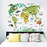 Jsadfojas Mapa del mundo Interesante Animal Wall Sticker World Wall Laminated Map Travel Map Scratch Map Of World Gift Decoration for House Office Children's Room School, Multicolor, talla única
