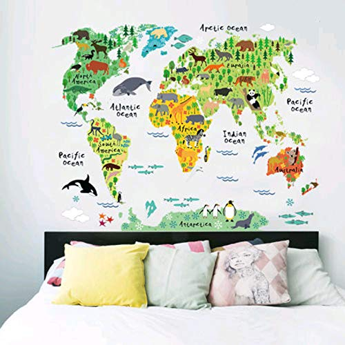 jsadfojas Mapa del Mundo Interesante Animal Wall Sticker World Wall Laminated Map Travel Map Scratch Map of World Gift Decoration for House Office Children's Room School, Multicolor, Talla única