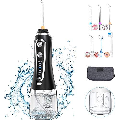 Munddusche Elektrische Wasser Flosser mit 5 Modi, 300ML kabellos Mundduschen mit 6 Düsen, IPX7 Oraler Irrigator, USB wiederaufladbarer Zahnreiniger für eine Gründliche Reinigung für Zuhause und Reise