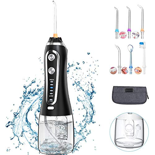 Irrigador Bucal,Irrigador Dental Portátil 5 Modos 300ML con 6 Boquillas, Multifuncional Recargable,Profesional Lavado Pulsado,IPX7 Impermeable(Negro)
