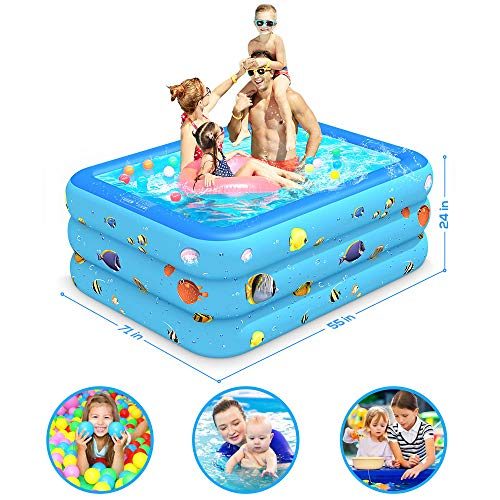 "Luxby Inflatable Pool, Kiddie Pool Inflatable, Blow-up Pool, Swimming Pools for Kids and Adults, Family, Toddler Kids, Garden, Outdoor, Backyard, Indoor, 71"" 55"" 24"""