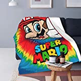 Mario Weighted Blanket for Adults and Children, Heated Bed Throws with Ultra-Soft Micro Fleece (Black).