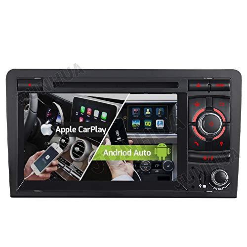 Dual Radio Tuner FM Eingebautes Carplay+Android Auto ROHM DSP Autoradio DVD GPS Navigation Navi Radio Bluetooth DAB+ WiFi OBD 4G LTE TPMS Lenkrad IPS für Audi A3 S3 RS3 8P 8V 8PA (Model 1)