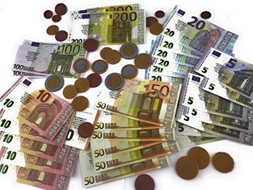 Spielgeld | Rechengeld | Euro | Set | Kaufladen Zubehör für Kinder | Scheine und Münzen