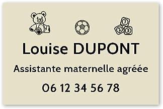 Personaliseerbaar bord voor de kleuterschool, personaliseerbaar, 30 x 20 cm, beige met zwarte letters, 3M-plakband