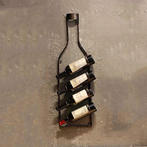 Botellero, retro estilo industrial estante del vino colgar de la pared Comedor Salón decoración de la barra de hierro forjado decoración de la pared pared estante del vino L20.02.11 ( Color : Bronze )