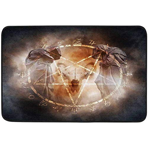 YUAZHOQI Horror House Door mats, Pentagram in Flames Black Magic Ceremony Ritual Lucifer Demonic Occult Skull, 35.4' x 47' doormats for Outdoor Entrance, Gray Orange