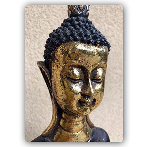 Blechschild Buddha Bilder Modern Art Deko Statuette Zen Orient Gold 30x40 cm