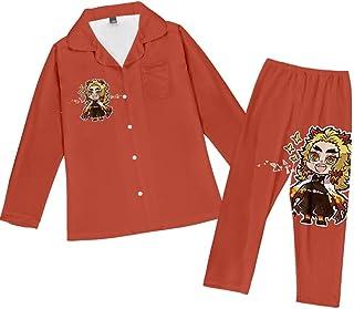 Pajama Set Teenagers Anime Loungewear Unisex Pjs Two Piece Soft Demon Slayer Sleepwear Youth Long Sleeve Button Nightwear