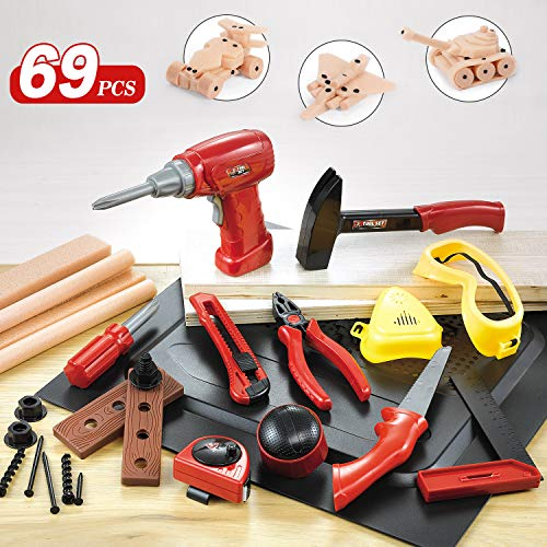 NextX Kids Tool Set 69 PCS Construction Toys Toolbox Fix It Learning Educational Play Tools for Child with Foam Wood