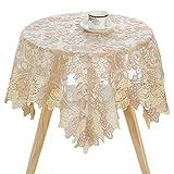Zhaoke - Mantel cuadrado (90 x 90 cm), diseño floral bordado, lavable, mantel de mesa para bodas, fiestas, buffet # 2