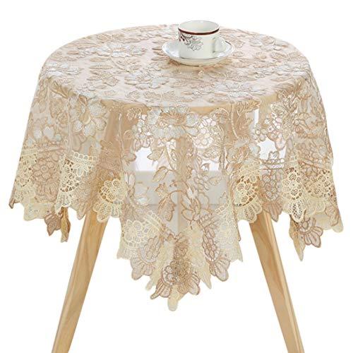 Zhaoke Quadratische Tischdecke 90 * 90cm, Spitze Tischdecke mit Stickerei für Runder Tisch, Abwaschbare Stoff Tischtuch für Hochzeit Party #2