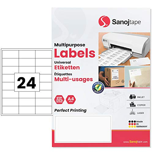 Weiße Universal-Papieretiketten im A4-Format | 66 x 33,9 mm - 2400 Etiketten – 100 Blätter | 24 Etikett pro A4-Blatt | Dauerhafte Klebekraft für Briefsendungen FBA Pakete | von Sanoj Tape