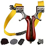 QAQWER Slingshots for Hunting Adults Sandalwood Handle Wrist Rocket with 6 Replacement Rubber Bands + Auxiliary Sight + Storage Bag + 200 Steel Ammo + 300 Clay Ammo Suitable for Beginners