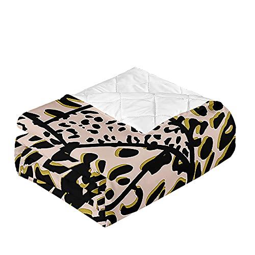 Chickwin Tagesdecken Bettüberwurf, 3D Leopard Drucken Sommer Tagesdecke mit Prägemuster Wohndecke aus Mikrofaser Bettdecke für Einzelbett Doppelbett oder Kinder (230x260cm,Braun)