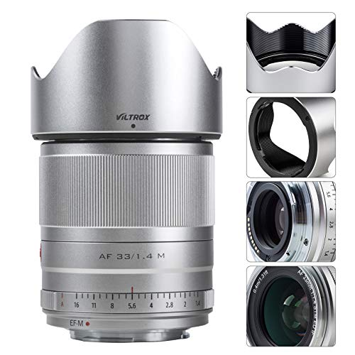 VILTROX 33mm F1.4 AF Autofocus Obiettivo Compatible with Canon EOS-M Mount APS-C Fotocamera M6Ⅱ M50 M5 M3 M100 M10
