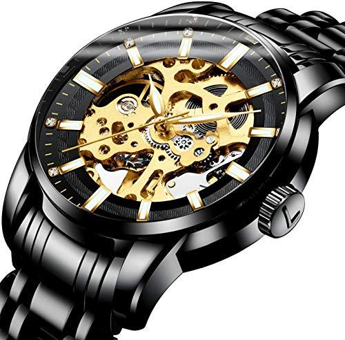腕時計、メンズ 機械式 腕時計 スケルトン ビジネス ファッションステンレススチールウォッチ 高級 防水 自動 自動巻き 時計 ブラックゴールド