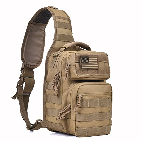 Tactical Sling Bag Military Single Shoulder Backpack Pack Range Bags Tan