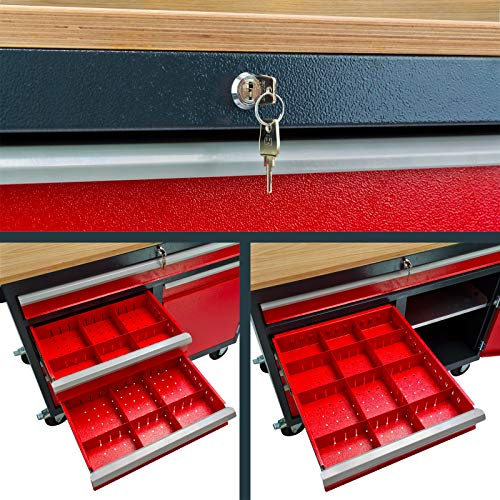 DEMA Mobile Werkbank rot/anthr. 5 Schubl. 1T. 120x60x93 - 3